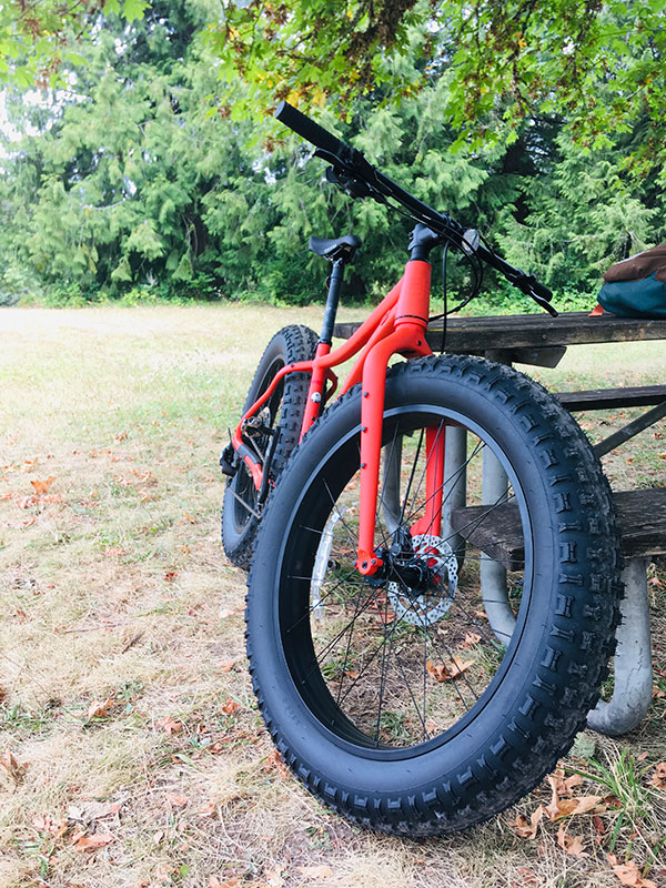 Orange Co-op fat tire bike leaning on picnic table showing large front tire