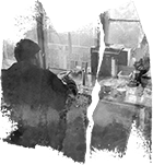 Decorative paint strokes with faint image of man writing at a desk