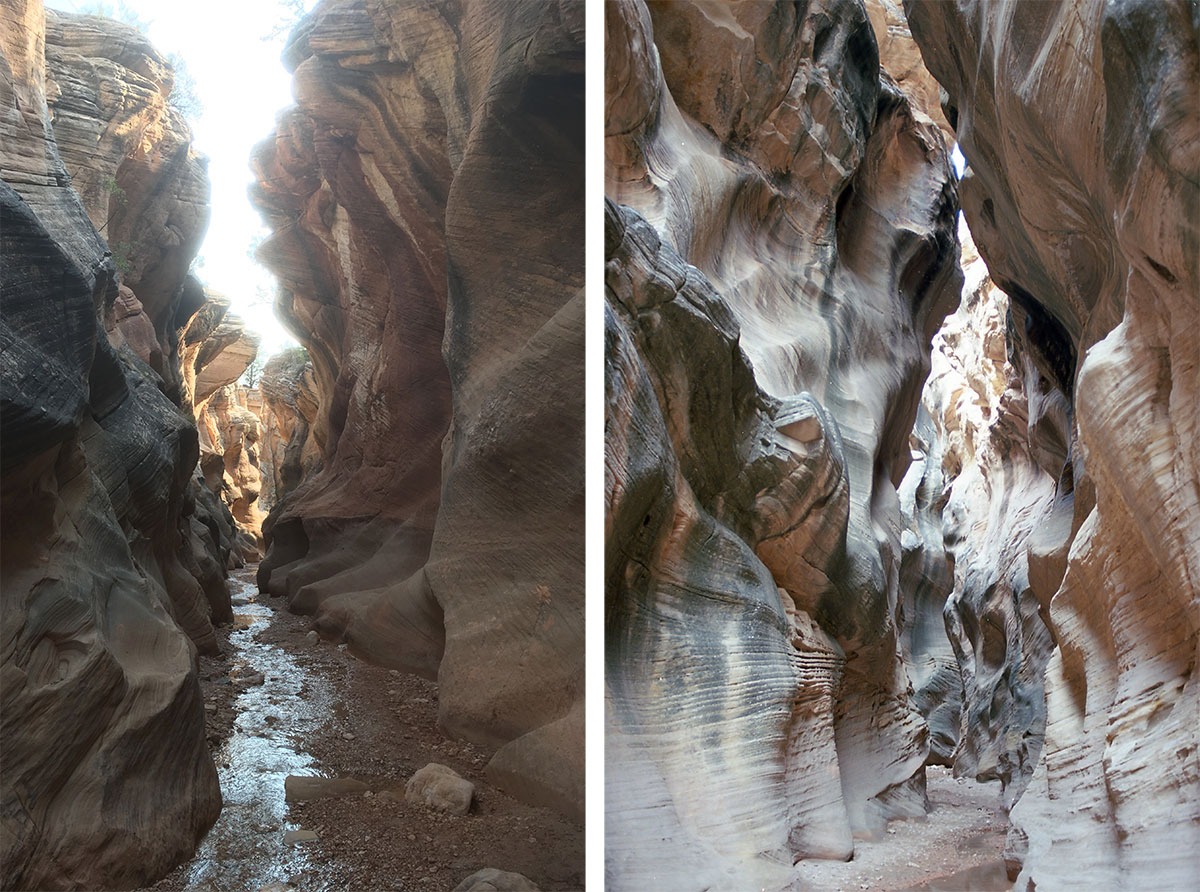 iPhone image of canyon versus Nikon FE image of slot canyon in Utah, the canyon walls rise up on either side, around 25 feet or so