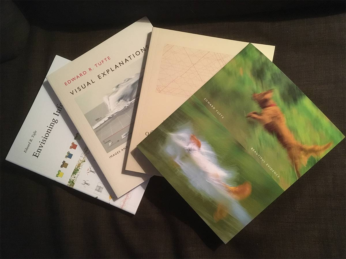 Edward Tufte books, Beautiful Evidence, Visual Explanations, Envisioning Information, The Visual Display of Quantitative Information